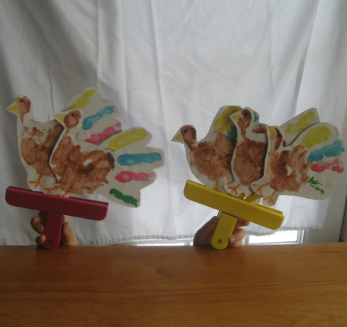 Five Little Turkeys Stick Puppets and Song