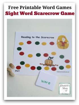 Game Printable Scarecrow Sight Games games sight word printable free Word Free  Word