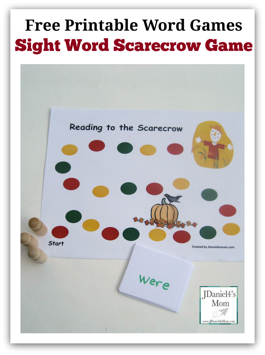 Free printable word games - sight word scarecrow