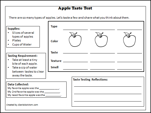 Apple Taste Test with Printables and Editable Place Cards - Grade School Tasting Printable