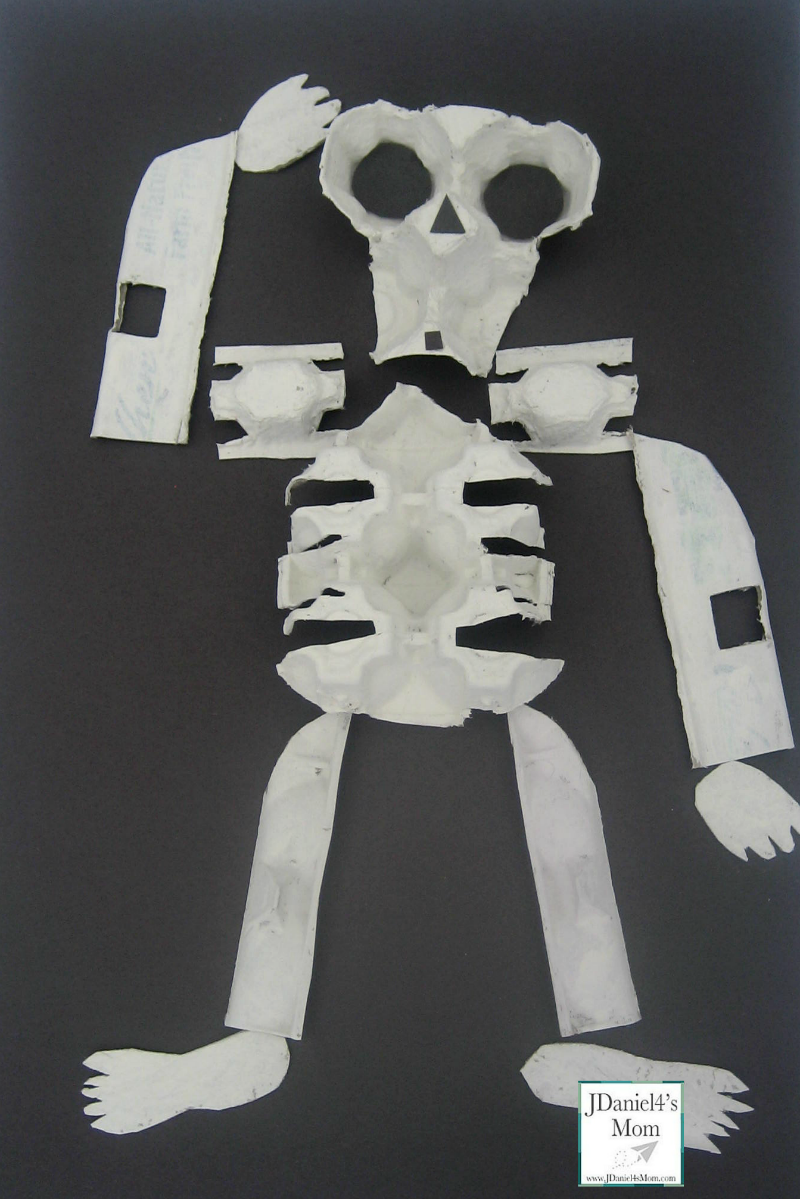 Halloween Crafts - Egg Carton Skeleton and Bone Soup