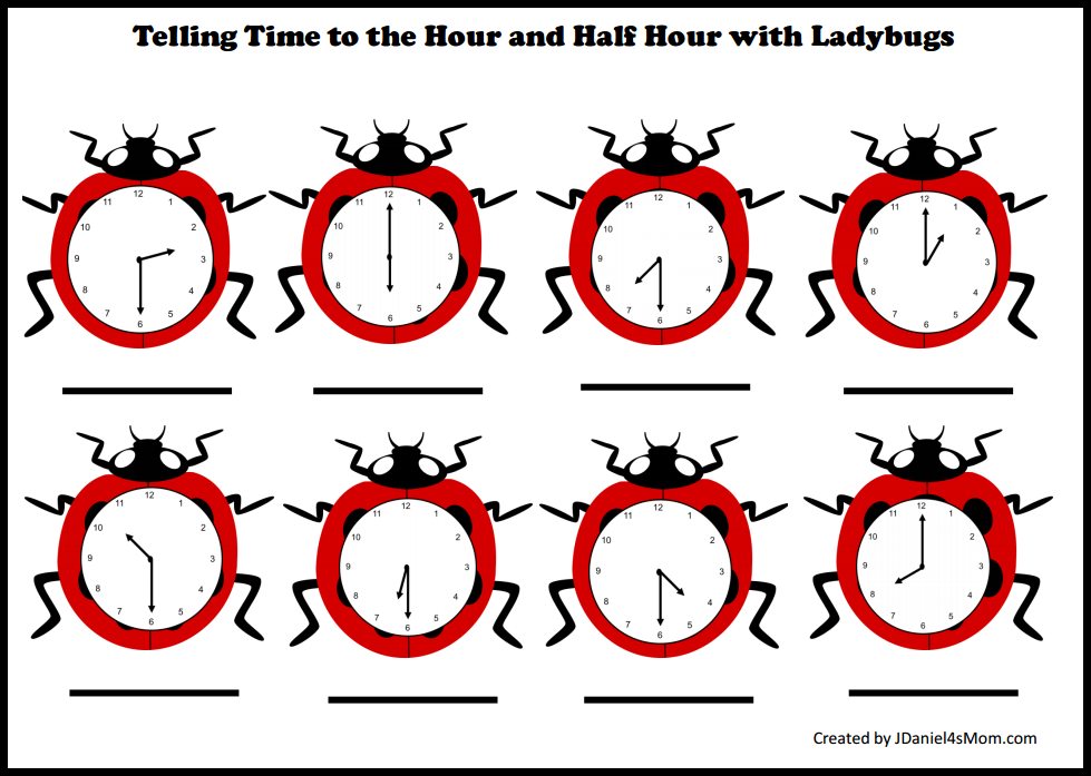 Telling Time Worksheets with Ladybugs - Telling Time to the Hour and Half Hour