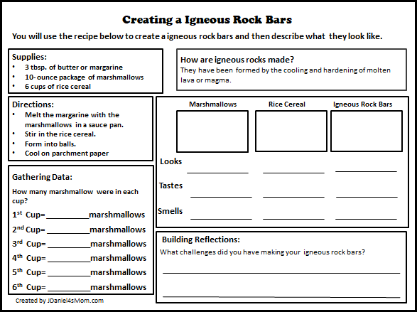 Igneous Cookie Bar Recipe and Rock Cycle Activity Printable for Kids to Explore