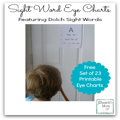 Sight Word Eye Charts Featuring Dolch Sight Words