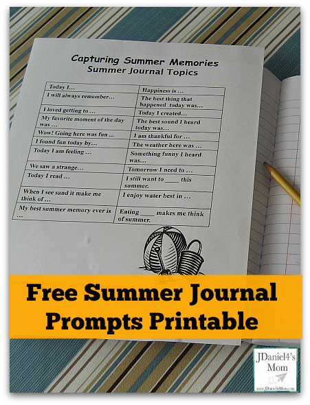 Kids Write- Capturing Summer Memories- Free Summer Journal Prompts Printable