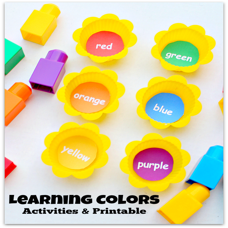 Learning Colors Activities and Printable - We used Mega Bloks and muffin cups along with a free printable. You could have LEGO and a muffin tin if you like.