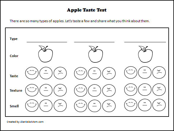 Apple Taste Test with Printables and Editable Place Cards - Preschool Tasting Printable