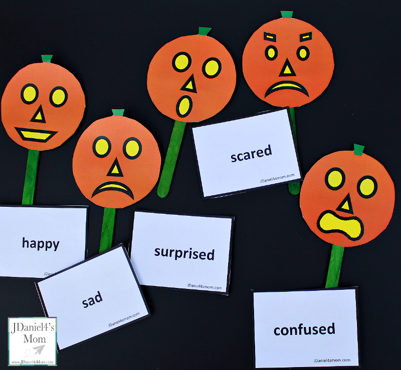 Five Little Pumpkins Social Skills Activities- A set of pumpkins and emotion cards are free to download. An original rhyme about five little pumpkins and feeling is shared in this post. This picture share the feelings matching game.