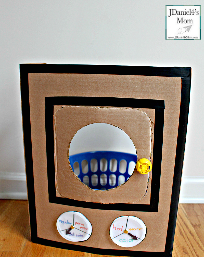 A DIY Cardboard Kids' Washing Machine - It is great for pretend play or a part of a learning activity for kids.