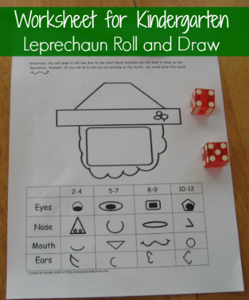math worksheet for kindergartners with Saint Patrick