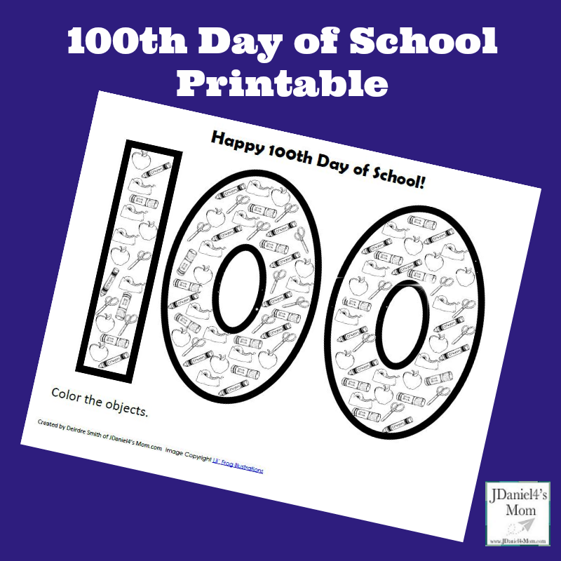 100th Day of School Printable- Kids can count and color the objects in the number 100.