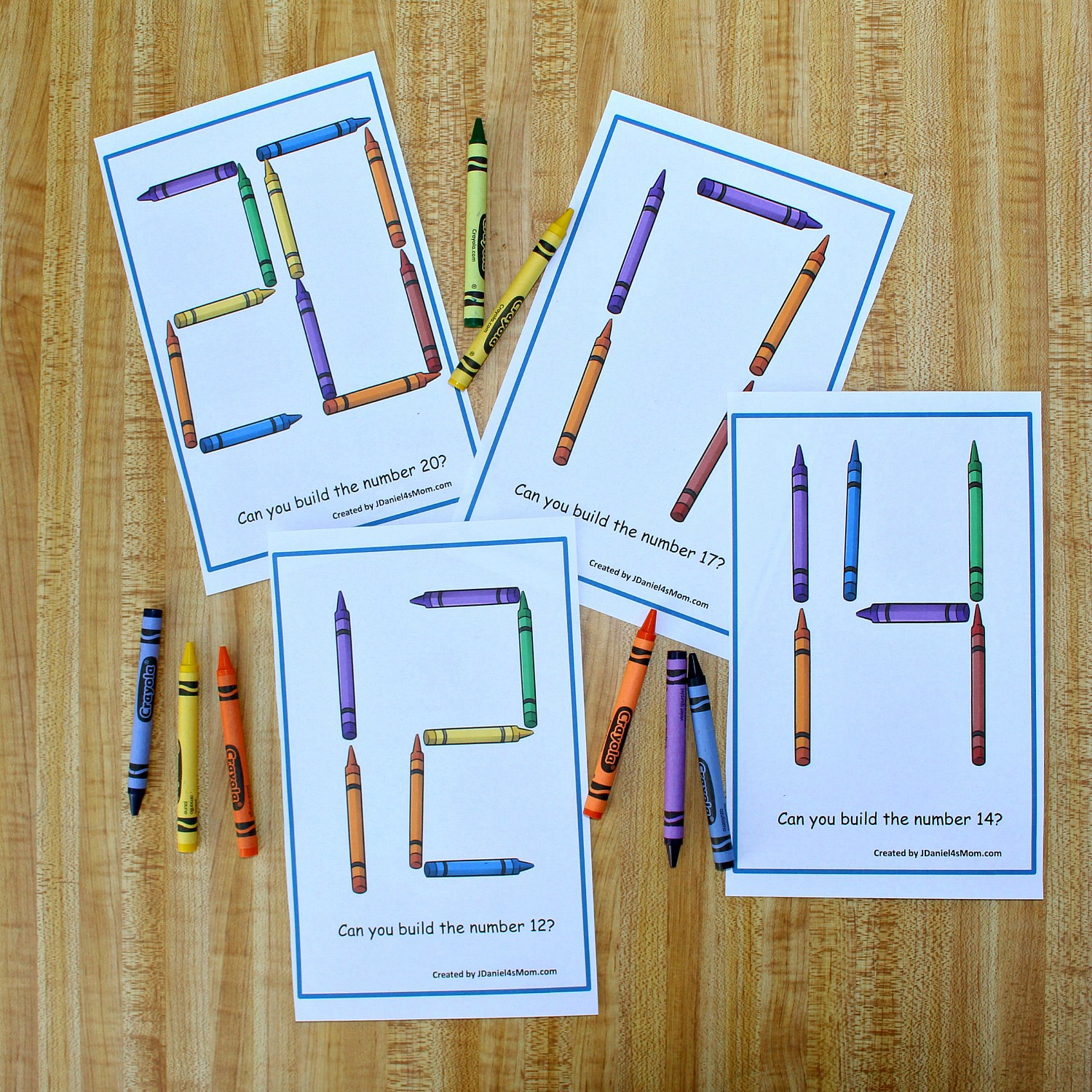 graphic relating to Free Printable Task Cards called Developing Quantities 11-20 with Crayons STEM Process Playing cards