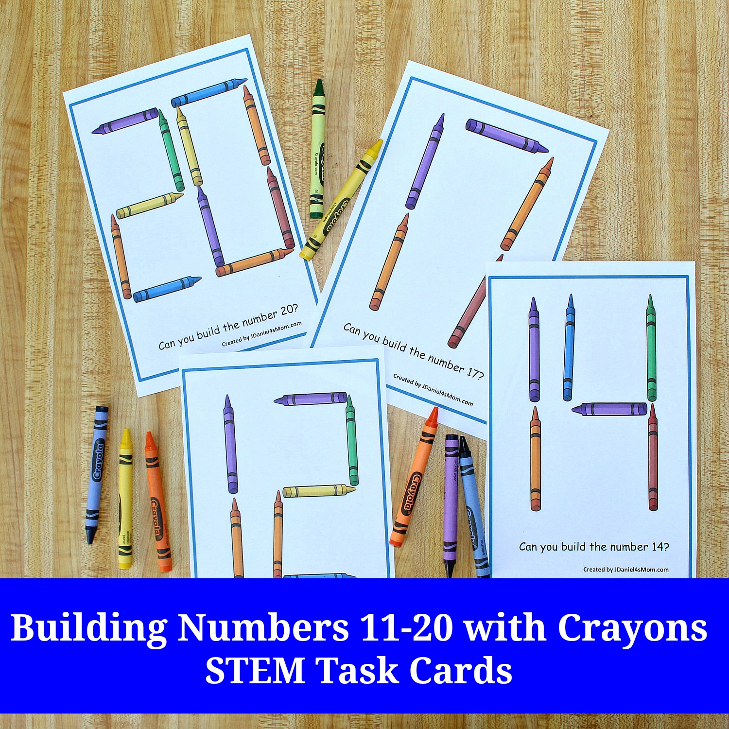 Building Numbers 11-20 with Crayons STEM Task Cards