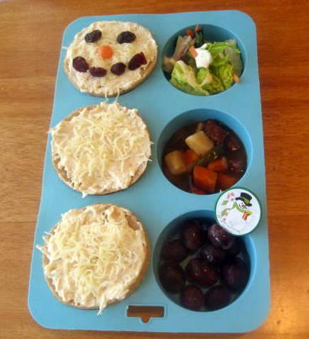 Muffin Tin Monday-  A Snowman's Buffalo Chicken Lunch