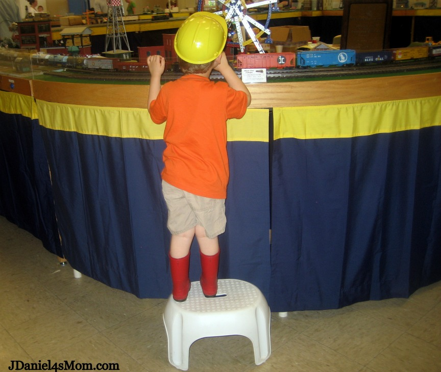 Yes, My Son is Wearing Red Boots and a Construction Hat!- Watching the Train