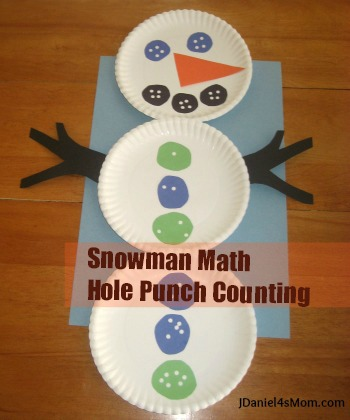 Preschool Math- Snowman Hole Punch Counting