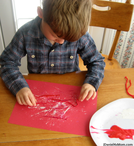 Five Little Valentines Song and Craft- Painting with String on Paper