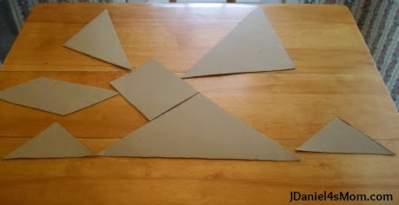 Homemade Giant Tangrams from a Pizza Box- Sunrise Pattern