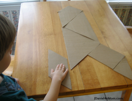 Homemade Giant Tangrams from a Pizza Box- Rocket Pattern