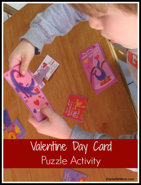Valentine Day Card Puzzle Activity