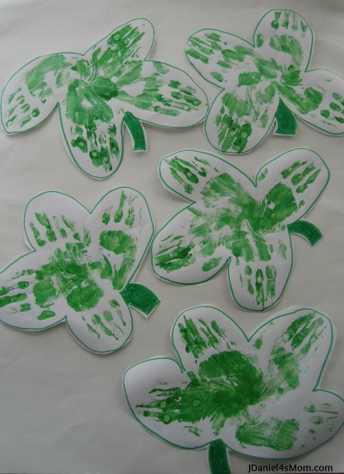 Five Hand Printed Shamrocks