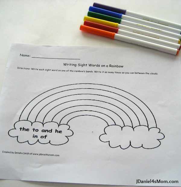 Worksheet for Kindergarten - Writing on a Rainbow