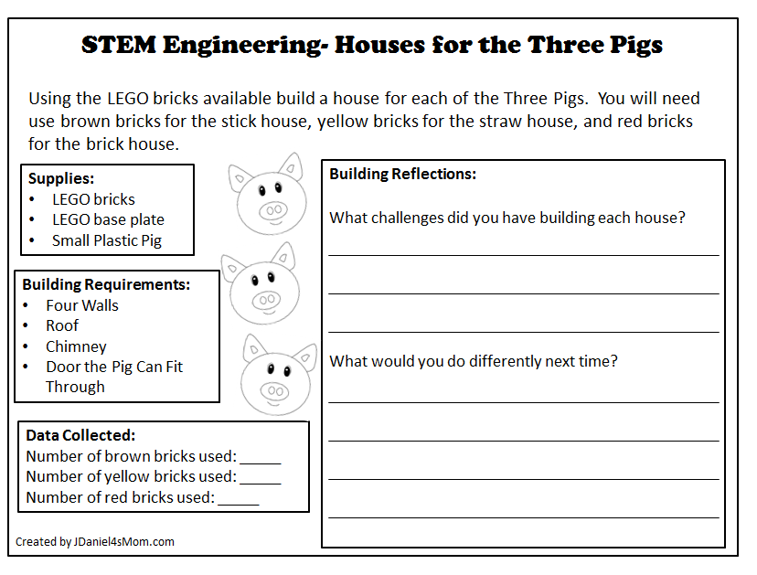 STEM Engineering - Houses for the Three Pigs Printable