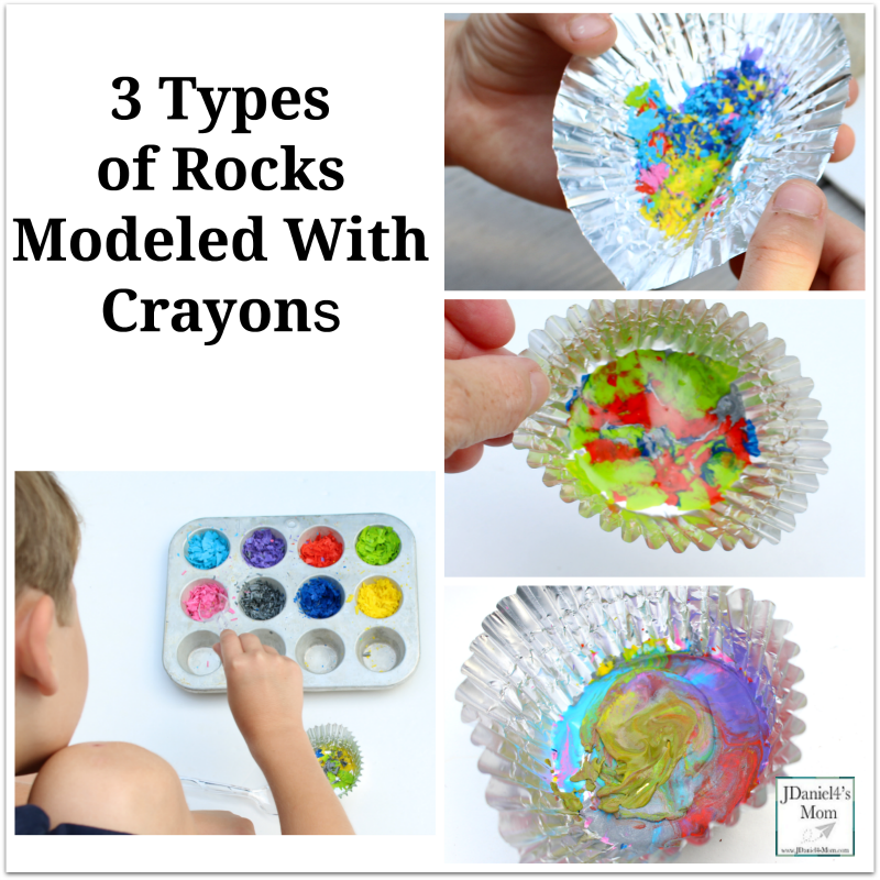 3 Types of Rocks Modeled With Crayons