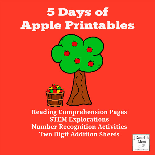 5 Days of Apple Printables for Preschool and Grade School Children