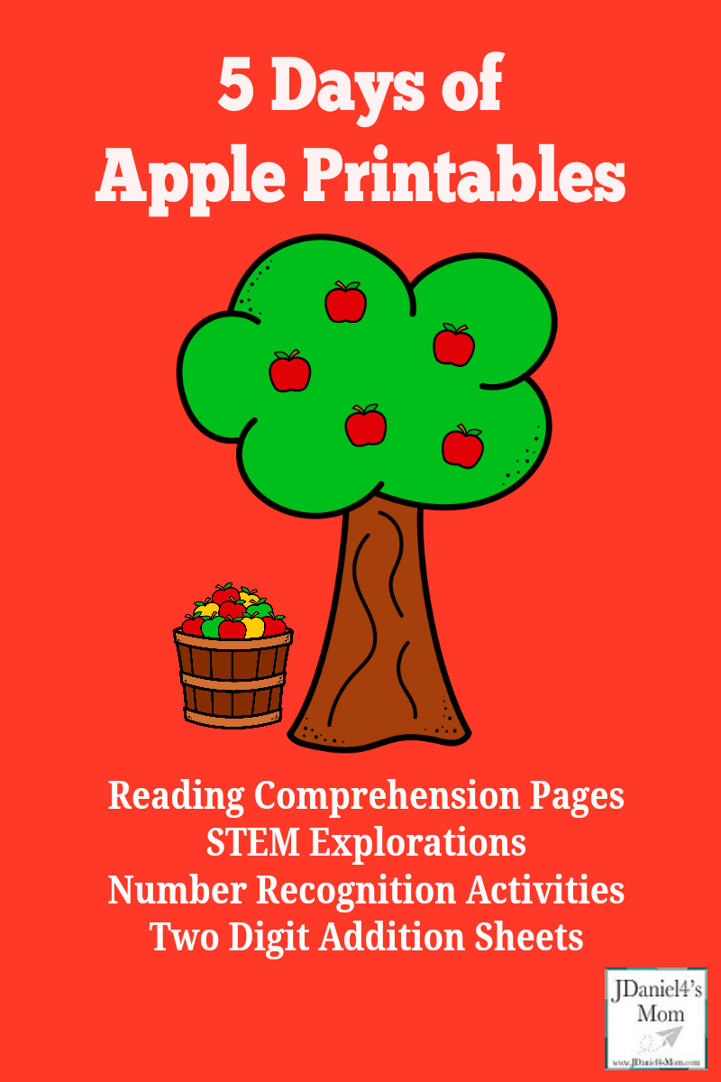 5 Days of Apple Printables - There are sets of printables for preschoolers and grade school age children. They are great to work with children at home or students at school. There are STEM science printables as well as reading and math.