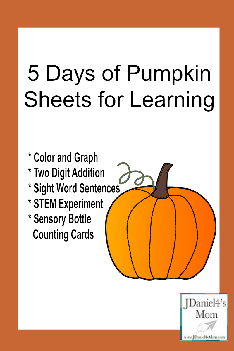 5 Days of Pumpkin Sheets for Learning- I will be sharing graphing, counting, reading comprehension, STEM and two-digit addition. They are all free to download.