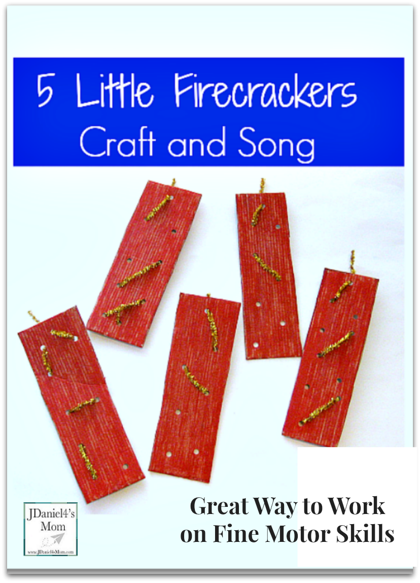 Five Little Firecrackers Craft and Song - This fine motor activity would be great to do for any patriotic holiday like the 4th of July. Kids can weave their own designs on the cardboard fire cracker they paint. Then they can use the to retell this fun rhyme. Kids will love having a prop to retell the rhyme.