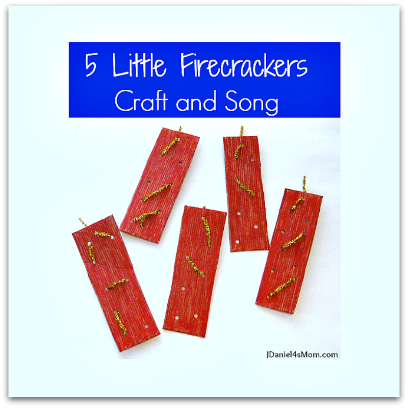 Five Little Firecrackers Craft and Song - This fine motor activity would be great to do for any patriotic holiday like the 4th of July. Kids can weave their own designs on the cardboard fire cracker they paint.