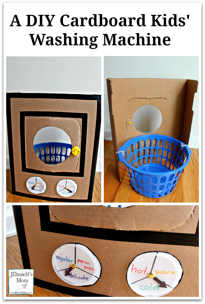 A DIY Cardboard Kids' Washing Machine - It is great for pretend play or a part of a learning activity for kids. It can be folded up and put away easily when your children finish playing with it.