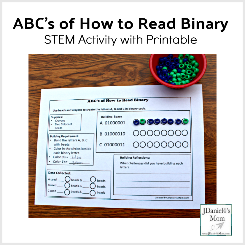 ABC's of How to Read Binary STEM Activity with Printable - This is a fun way hands on way to teach your kids about coding.