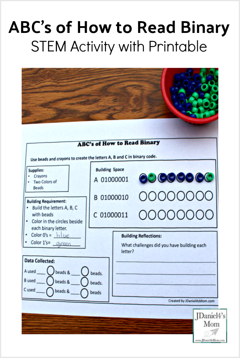 ABC's of How to Read Binary STEM Activity with Printable - This is a fun way hands on way to teach your kids about coding. They will get to work on fine motor skills, learn about binary numbers, and color all in the same activity.