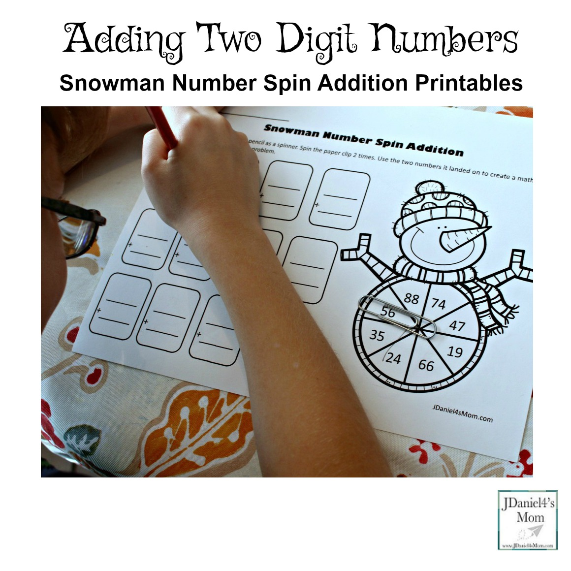 Adding Two Digit Numbers - Snowman Number Spin Addition