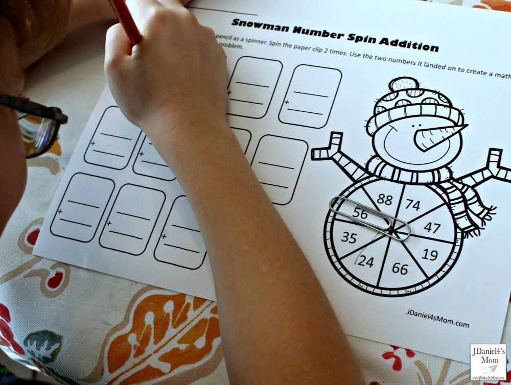 Adding Two Digit Numbers Snowman Number Spin Addition- Recording the Number