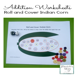 Addition Worksheets- Roll and Cover Indian Corn(Featured)
