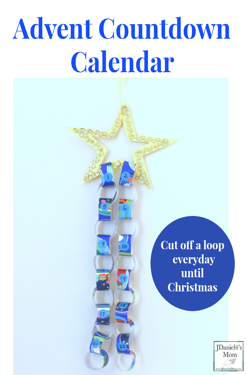 Advent Countdown Calendar Craft and Activity - This is a fun way to countdown to Christmas and explore number recognition. A free printable set includes a star template and printable loop strips.