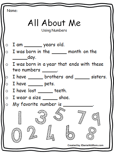 image regarding All About Me Printable Worksheet called All In excess of Me Worksheets That Investigate Math Thoughts