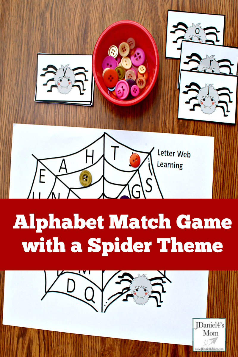 Alphabet Match Game with a Spider Theme - The set includes lowercase letter spider cards and a letter mat with uppercase letters displayed on it.