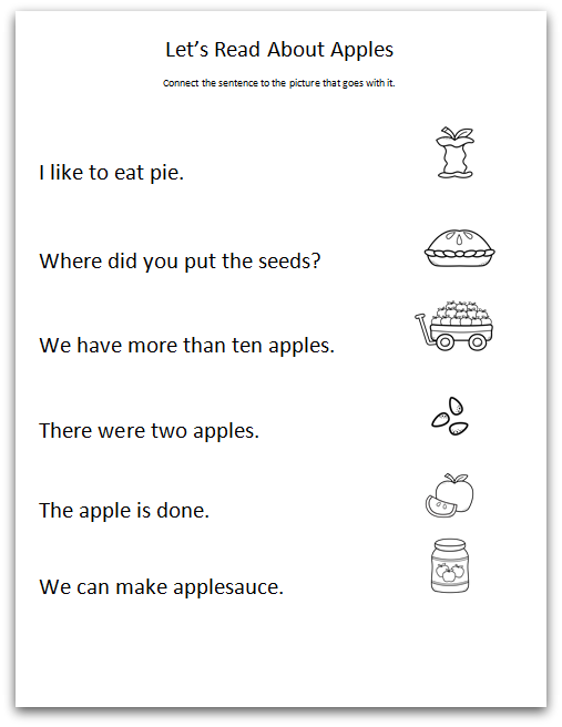 Apple Comprehension Worksheet - Sample Page