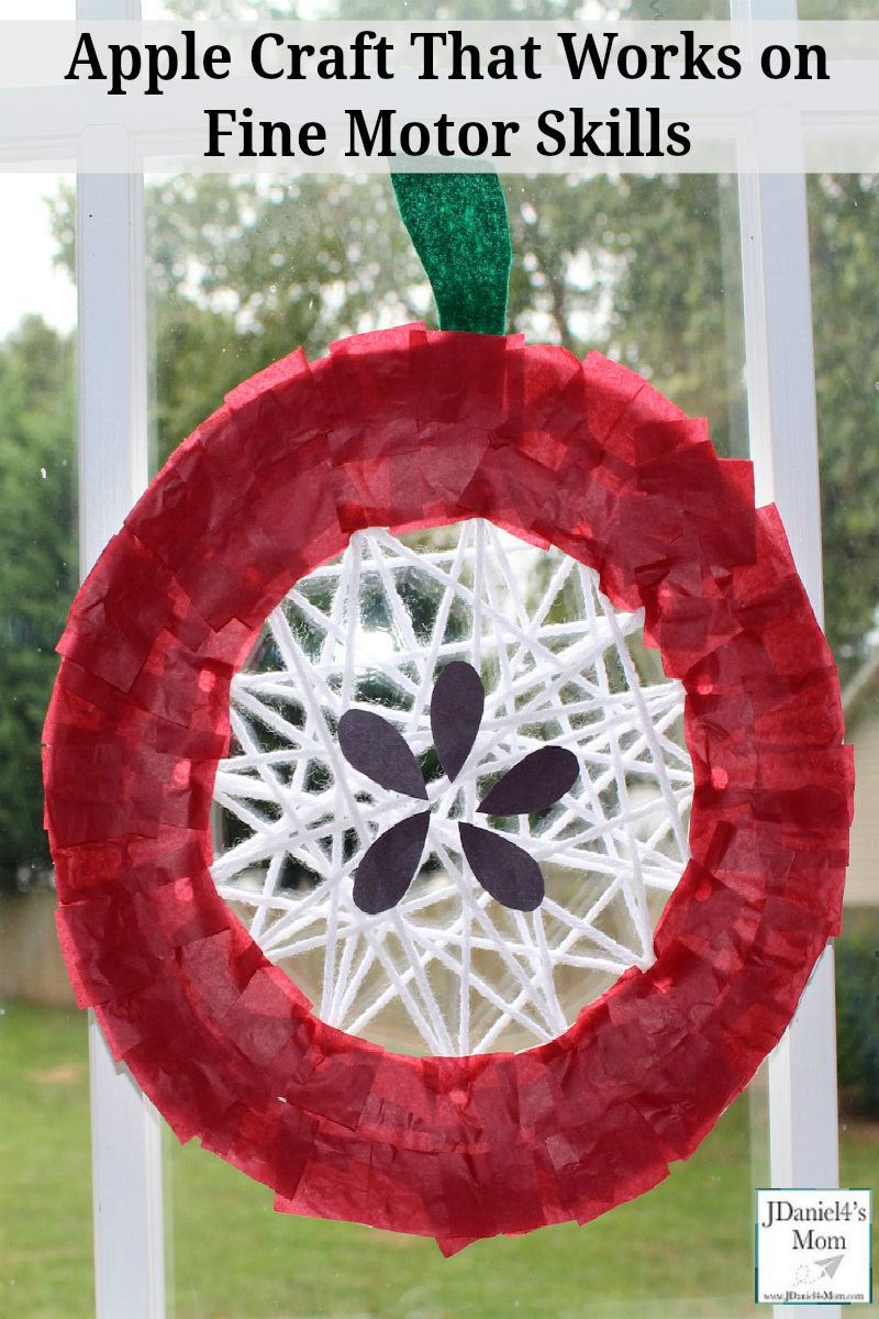 Apple Craft That Works on Fine Motor Skills - Your children at home or students at school will work on cutting, hole punching, weaving and gluing while they put this apple craft together.