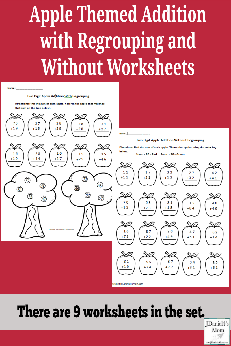 Apple Themed Addition with Regrouping and Without Worksheets- There are nine worksheets in this set. The pages also give students at school or children home the chance to work on even and odd numbers. Greater than and less than is also explored. They would be great to work on as part of an apple unit or a study of Johnny Appleseed..