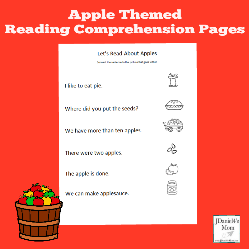 Apple Themed Reading Comprehension Worksheets for Preschoolers