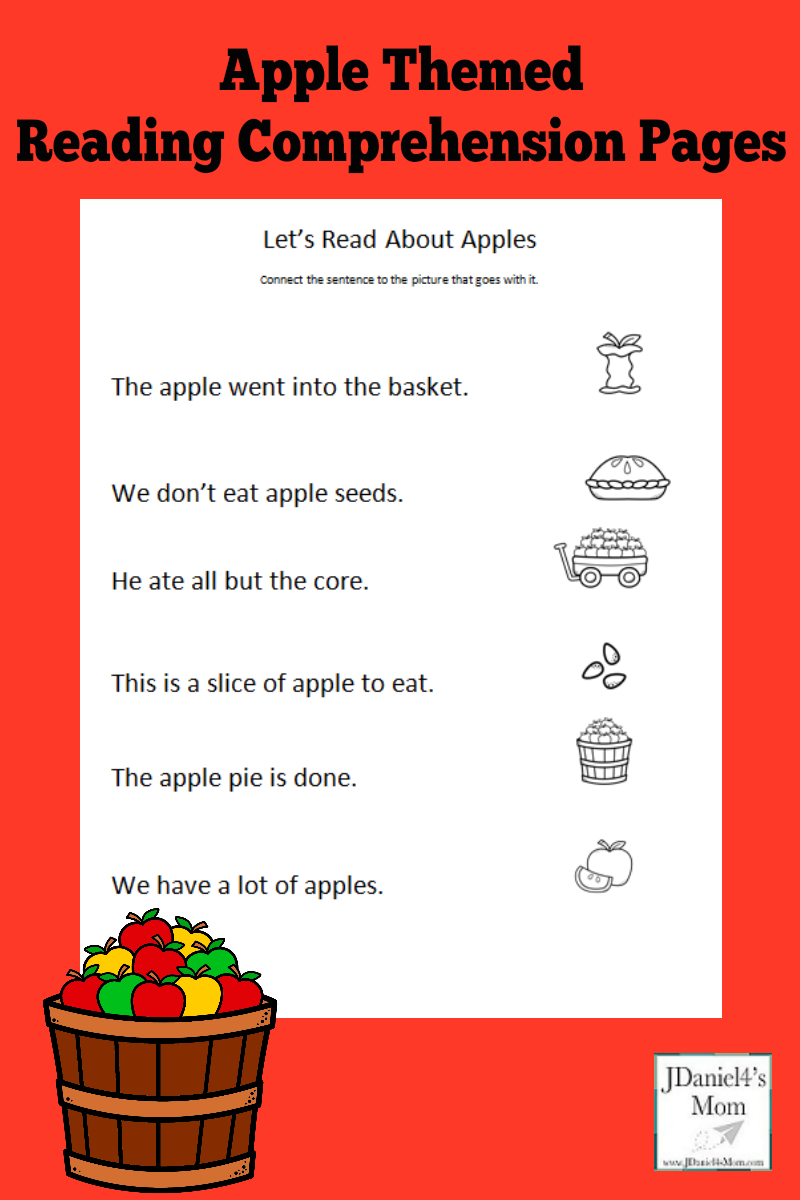 apple themed reading comprehension worksheets