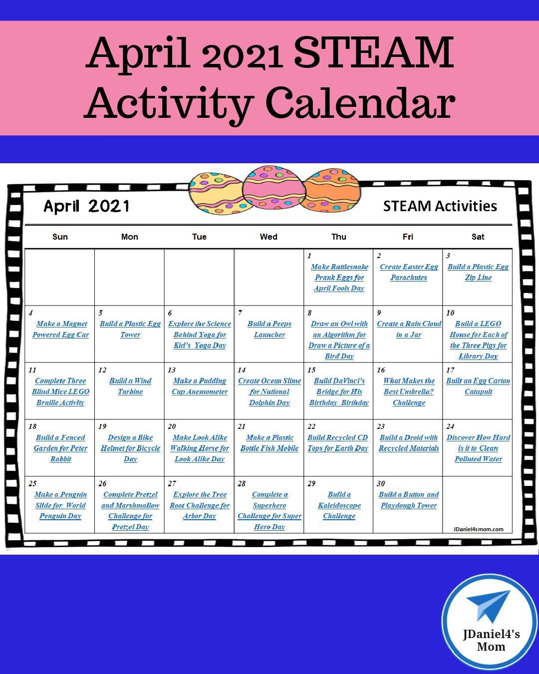 April 2021 STEAM Activity Calendar