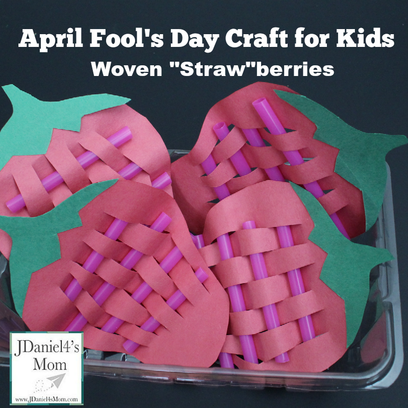 "April Fool's Day Craft for Kids- Woven ""Straw""berries: Yep! They are berries crafted with straws. This is a fun fine motor craft."
