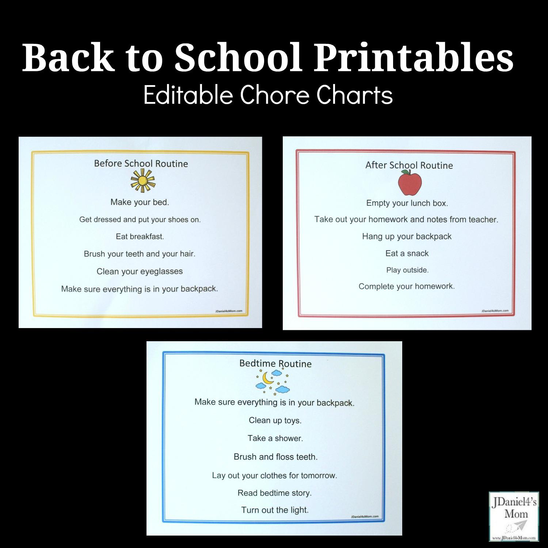 Back to School Printables - Editable Chore Charts